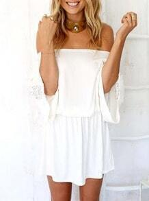 White Off The Shoulder Embroidered Hollow Dress