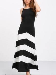 vestido largo rayas sin manga-blanco y negro
