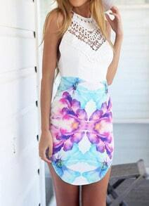 White Spaghetti Strap Hollow Floral Backless Dress