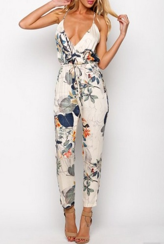 White Spaghetti Strap Leaves Print Slim Jumpsuit