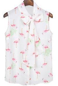 White Bow Collar Crane Print Chiffon Blouse