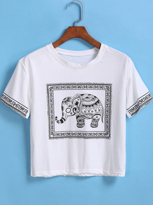 T-Shirt décontracté manches courtes éléphant imprimé - Blanc
