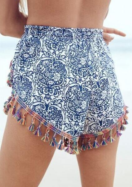 Blue Tribal Print Tassel Shorts pictures