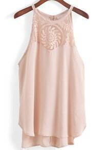 Halter Embroidered Apricot Tank Top