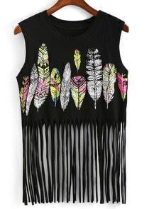 With Tassel Feather Print Black Tank Top