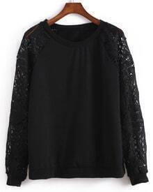 Round Neck Lace Insert Sweatshirt