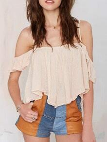 Apricot Spaghetti Strap Off The Shoulder Blouse