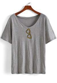 V Neck Glasses Embroidered Grey T-shirt