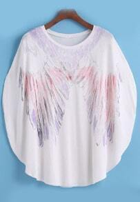 Bat Sleeve Feather Print T-shirt