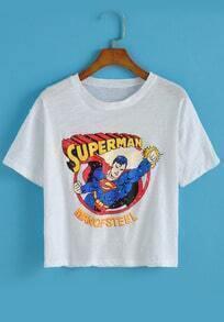 Round Neck Superman Print T-shirt