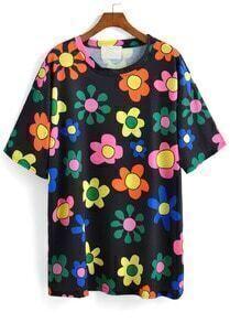 Flower Print Black T-shirt