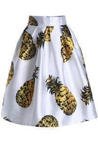 Pineapple Print Flare Skirt