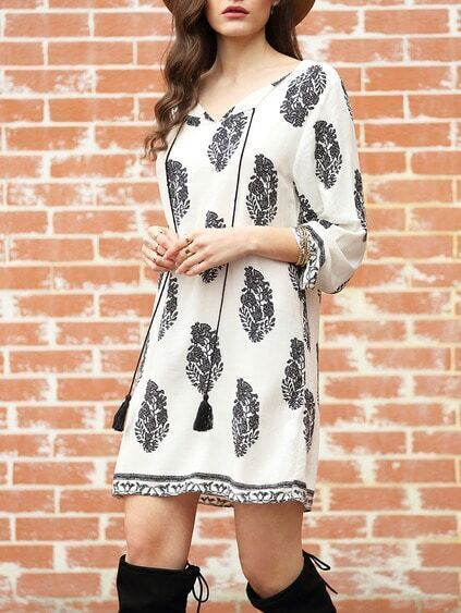 White Long Sleeve Floral Print Dress