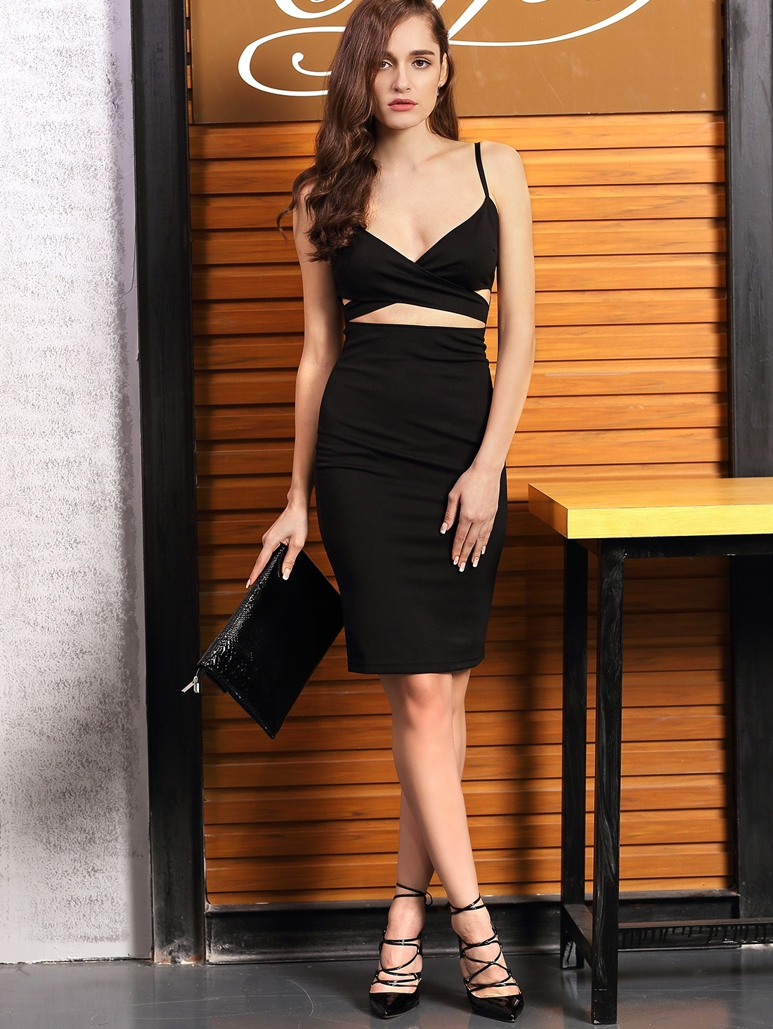 Black Spaghetti Strap Cut-out Dress