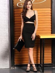 Black Spaghetti Strap Cut-out Dress