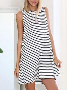White Black Sleeveless Striped Dress