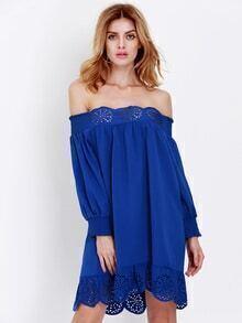 Blue Off The Shoulder Peplum Hem Dress