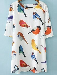 White Half Sleeve Birds pattern Random  Loose Dress