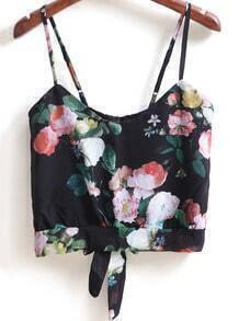Black Spaghetti Strap Floral Knotted Cami Top