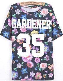 Black Short Sleeve Floral Letters 35 Print T-Shirt