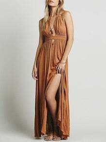 Brown Halter Deep V Neck Backless Maxi Dress