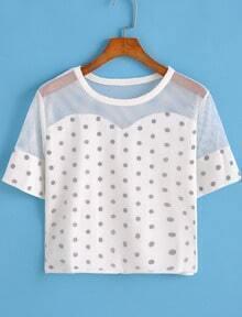 Polka Dot Sheer Mesh White T-shirt
