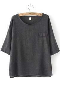 Dip Hem With Pocket Grey T-shirt