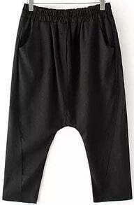 Elastic Waist Loose Black Pant