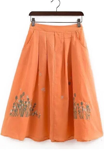 Embroidered Flare Orange Skirt