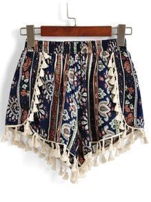 Elastic Waist Tribal Print Tassel Blue Shorts