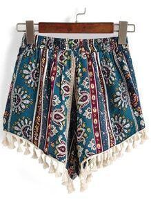 Elastic Waist Tribal Print Tassel Green Shorts