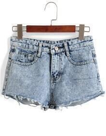 Fringe Slim Denim Shorts