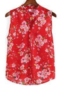 V Neck Florals Chiffon Red Blouse