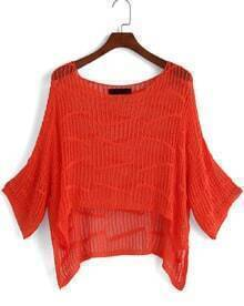 Dip Hem Hollow Knit Sweater