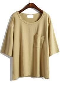 Half Sleeve With Pocket Khaki T-shirt