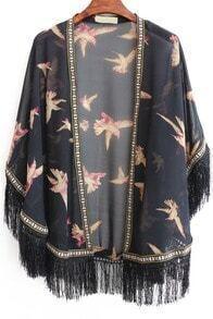 With Tassel Bird Print Chiffon Black Kimono