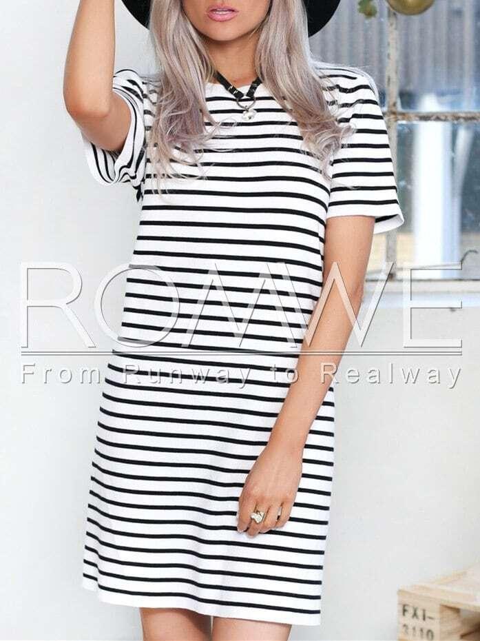 White Short Sleeve Striped