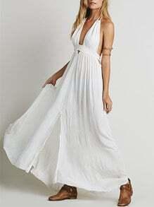 White Halter Deep V Neck Backless Maxi Dress