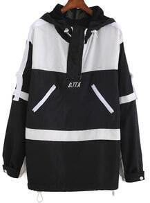 Hooded Letter Embroidered Loose Coat