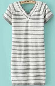 V Neck Striped Grey Dress