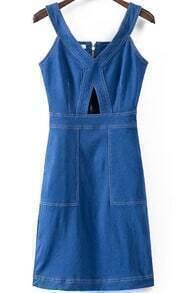 V Neck Hollow Back Zipper Denim Dress