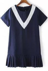 Short Sleeve Peplum Hem Navy Dress