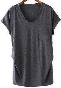 V Neck With Pocket Loose T-shirt