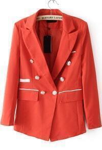 Lapel With Pockets Orange Blazer