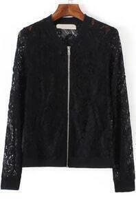 With Zipper Lace Black Coat