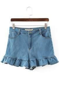 Peplum Hem Denim Light Blue Shorts