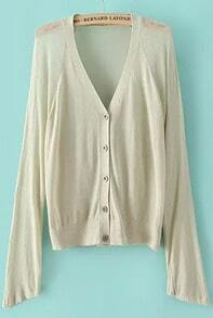 With Buttons Beige Cardigan