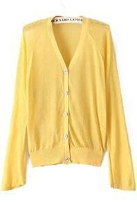 With Buttons Yellow Cardigan