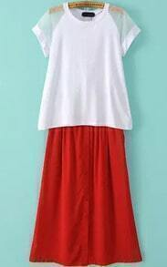Short Sleeve Mesh Top With Single-breasted Chiffon Skirt