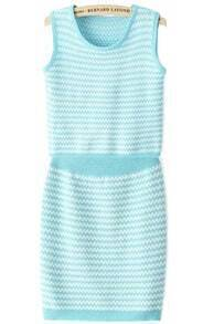 Striped Knit Tank Top With Blue Skirt